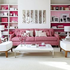 Pink and white lounge idea