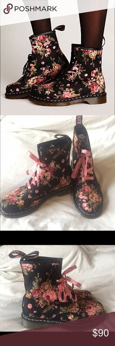 Dr. Martens Victorian Flowers Boot (Size 9) Blue and floral printed canvas Doc Martens boots.  Worn ONCE indoors-- brand new condition. Also comes with the Dr. Marten pink ribbon laces, as seen. Dr. Martens Shoes Combat & Moto Boots