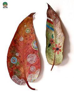 用落叶手绘的创意树叶作品图-创意生活,手工制作╭★肉丁网