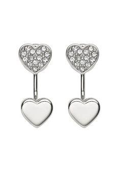 Fossil Cercei argintii in forma de inima cu tija si cristale Femei image_1