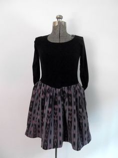 1980s Ikat Dress Dropped Waist Black and Purple by rileybella123, $35.00
