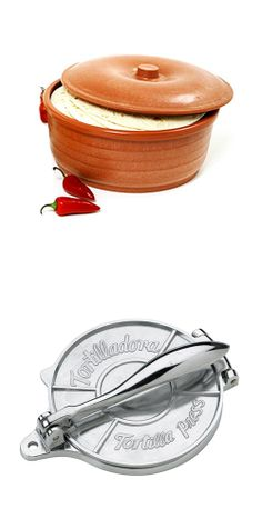 Tortilla Press & Warmer Set | dotandbo.com    (I need one of these, my wooden one keeps cracking every time I use it....