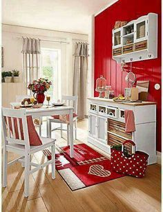 Paint my little shelf white, on pale yellow walls. Add red accents