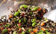 wild rice salad - didn't have edamame on hand so used broccoli - great flavor