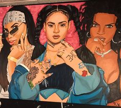 Aaliyah, Kehlani and Lauryn Hill fan art by @mike__ham