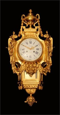 """An Amazing Century, Louis XV Style, French Gold Plated Bronze Wall Clock Signed """"Preyat Paris"""" on the Face of the Clock and Stamped """"S. Marti - Medaille de Bronze"""" on the Mechanism, Stunning ! >>> You can find out more details at the link of the image. Old Clocks, Antique Clocks, Antique Gold, Vintage Clocks, French Clock, Wall Watch, Wall Clock Online, Decoration, French Antiques"""
