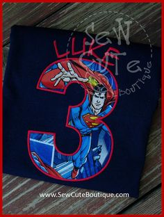 Superman Super Hero Birthday Shirt on Navy Shirt by ThatsSewCute, $20.00