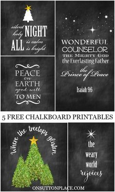 5 Free Christmas Chalkboard Printable   Use for easy DIY wall art, cards, crafts, screensavers and more!