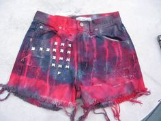 High Waisted Calvin Klein Studded Cut off Red and by tessimal, $47.00