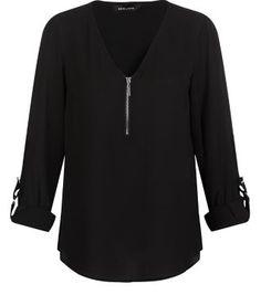 Schwarze Bluse mit Umschlagärmeln und Reißverschluss vorne