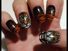 Tiger Nail Art by ZombieKitty - YouTube (tiger nails)
