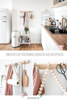 Practical Kitchen Gadgets - DIY ideas for kitchen roll holders, coasters and towel racks # three times different Order in the IKEA kitchen - the kitchen roll holder is made super fast and can be easily refilled. The DIY is on the blo. Cute Home Decor, Handmade Home Decor, Home Decor Items, Cheap Home Decor, Kitchen Ikea, Diy Kitchen Decor, Kitchen Gadgets, Kitchen Utensils, Kitchen Flooring