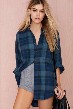 After Party Vintage Tried And True Flannel - Navy | Shop Clothes at Nasty Gal
