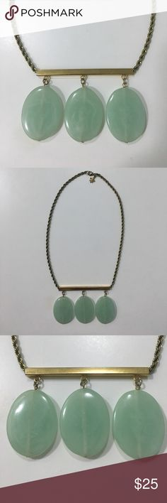 """Club Monaco Statement Necklace Club Monaco bar style statement necklace with three drop jade like stones. Stones measure approximately 1.5"""" x 1.25"""". Bar measures 3"""" and chain measures approximately 19"""". Necklace has a lobster clasp closure and there is a small fleur-de-lis charm. Club Monaco Jewelry Necklaces"""