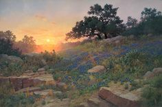 Artist: Robert Pummill - Title: Sundown ~ Signed & Numbered Giclee Southwest Art, Historical Art, Landscape Paintings, Oil Paintings, Blue Bonnets, Old Barns, Van Gogh, Wild Flowers, Beautiful Pictures