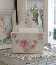 Shabby Vintage Style Romantic Roses Letter Holder - Debi Coules Romantic Art