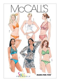 McCall's 5400 Womens Bikini Swimsuits and Caftan Top Bathing Suit Swimwear Sewing Pattern Size 12 14 Camouflage, My Size Barbie, Couture, Pose, Swimsuit Pattern, Mccalls Sewing Patterns, Pattern Sewing, Swimsuit Cover, Bikini Swimsuit
