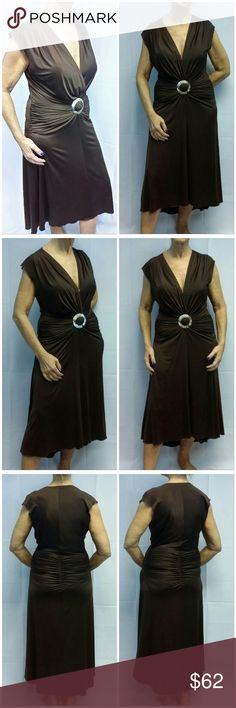 "Offers of 40% Less on BUNDLES Always Accepted! Rich Root Beer Brown Sexy Hi-Lo Cocktail Dress size 12 , faux Mother of Pearl center front waist knot holder gathers material to hold the deep v-neck and create drape on waist and hips, shoulder pleats, ruched draping at side of hips, center back rear gathers accentuates buns, slinky silky sheer, hand wash, 92%polyester,  8% spandex,  47"" length front, 52"" length back, 18"" laying flat bust but bust is adjustable deep V so up to 25"" comfortably…"