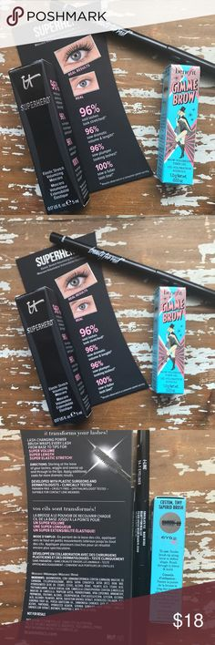 New Makeup Bundle 🛍Benefit • iT • Beauty for Real 1-Trial size Benefit Gimme Brow 1- Trial Size IT Superhero Marcara 1- Beauty for Real eyeliner, full size in Chocolate Brown color. 📌 Set of 3 items📌 New never used. Benefit Makeup