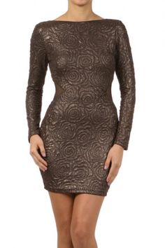 93 percent Polyester 7 percent Spandex 1S/1M/1L Per Pack Brown This HIGH QUALITY dress is VERY NICE! Made from a soft and comfy fabric, this textured, metallic long sleeve dress with open back and side sheer panels has great stretch, and fits true to size.