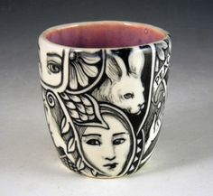 Black and white OOAK tea bowl cup hand painted with by PSPorcelain