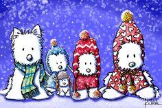 Winter Westies Drawing  - Winter Westies Fine Art Print