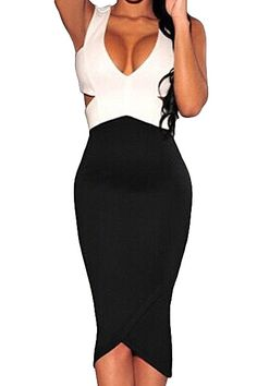 Sleeveless Black and White cutout  #Bodycon #Dress $17 #fashion #style #shopping #clothing #apparel #womens #ladies #zaful #ootd #pinoftheday #womensfashion #womensfashionblog #womensfashionblogger #mystylespot