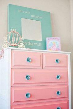 DIY Pink Ombre Painted Dresser