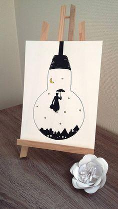 Affiche Illustration Noir et blanc ampoule mary poppins