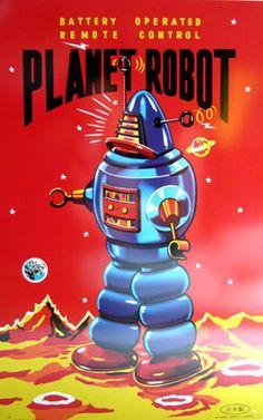 Planet Bot ☮~ Retro ROBOT ❤ Vintage illustration, design and poster art.