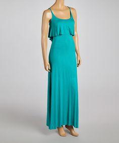 Love this Teal Flounce Sleeveless Dress by La Class on #zulily! #zulilyfinds