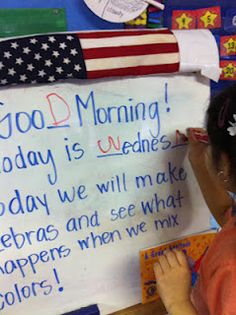Morning message with missing letters - idea from Loving & Learning in pre-K