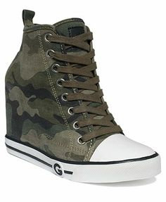 G by GUESS Women's Majestey Wedge High Top Sneakers - Finish Line Athletic Shoes - Shoes - Macy's Source by wedges High Heel Tennis Shoes, Sneaker High Heels, Dr Shoes, Hype Shoes, Guess Shoes, Wedge Shoes, High Heel Boots, Converse High Heels, Converse Wedges