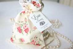 Floral Favour Bag, Rose Gift Bag/Pouch, Tea Party Bridal Shower, Baby Shower, Tea Party Birthday - Set of 10