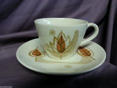 Vintage Mid Century Modern ATOMIC ROYAL CHINA AUTUMN HAZE COFFEE CUP and SAUCER