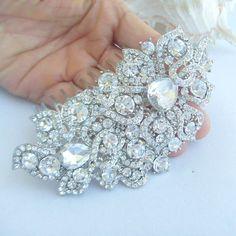 Wedding Hair Comb,Bridal Hair Comb,Bridal Hair Accessories,Bridal Flower Hair Comb w Clear Rhinestone Crystal,Bridesmaid Jewelry, HSE05093C1