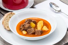 Traditional Goulash soup from Baltazár restaurant in Budapest Sauerkraut, Budapest Restaurant, Goulash Soup, National Dish, Pot Roast, Spicy, Dishes, Cooking, Ethnic Recipes