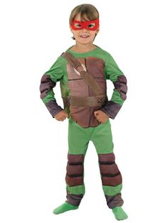 Teenage Mutant Ninja Turtles Costume - Childs Fancy Dress - Medium Size  Teenage Mutant Ninja Turtle fans will love this awesome turtle costume! Perfect for fancy dress parties or playing dress up at home, the complete costume includes a padded jumpsuit and separate back shell. The costume even comes with four differently coloured masks so that you can pick which hero in a half shell to be! Cowabunga dude!