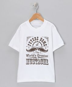 Take a look at this Dogwood White 'Mustache' Tee - Toddler & Boys by Action Hero: Boys' Tees on #zulily today!