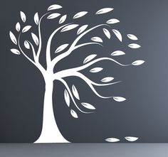 Modern decal silhouette white tree wall decal blowing tree. $99.00, via Etsy.