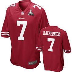 Colin Kaepernick Youth Super Bowl XLVII Jersey: Home Red Super Bowl XLVII Replica #7 Nike San Francisco 49ers Youth Jersey $79.99 http://www.fansedge.com/Patrick-Willis-Youth-Super-Bowl-XLVII-Jersey-Home-Red-Super-Bowl-XLVII-Replica-7-Nike-San-Francisco-49ers-Youth-Jersey-_2109668453_PD.html?social=pinterest_pfid26-14759