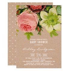 #rustic - #Botanical Flowers Kraft Paper Baby Shower Card