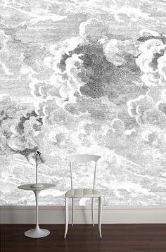 papel pintado imitación litografía por Fornasetti. Nuvole de la colección Cole & Son