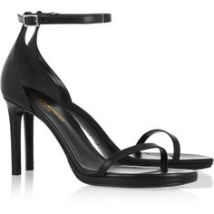 Saint Laurent Jane leather sandals ($645) ❤ liked on Polyvore featuring shoes, sandals, strappy sandals, high heel sandals, black leather shoes, high heel platform sandals and black high heel sandals