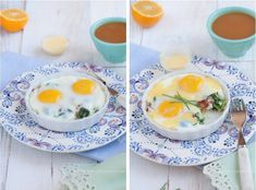 Baked Eggs with Bacon, Greens,and Hollandaise - Against All Grain