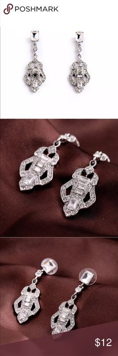 Silver tone drop earrings with pave crystals Silver tone drop earrings with pave crystals Jewelry Earrings
