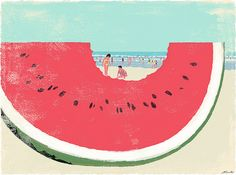 90 days for summer (Illustration by Tatsuro Kiuchi) Art And Illustration, Illustrations Posters, Design Illustrations, Vintage Illustrations, Watermelon Art, Watermelon Carving, Eating Watermelon, Sweet Watermelon, Japan Design