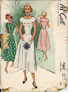 McCall 7662 Junior 1940s Princess Dress Pattern by CynicalGirl, $32.00