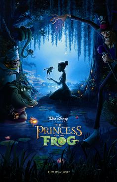 The Princess and the Frog is a 2009 American animated musical fantasy comedy film produced by Walt Disney Animation Studios. Walt Disney Animation, Walt Disney Animated Movies, Disney Animation Studios, Animated Movie Posters, Disney Movie Posters, Cinema Posters, Disney Films, Disney Cartoons, Disney Pixar