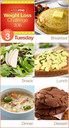 Day 3 Meal Plan Recipes – Weight Loss Challenge for Weight Watchers - Pancakes, Cranberry Pear and Spinach Salad, Egg Salad, Slow Cooker Cheeseburger Soup, and Chocolate Chip Cookies